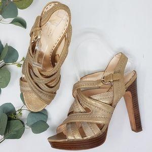 COACH Brynne Metallic Gold Strappy Heel 8.5B